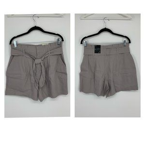 INC Women's Linen Paperbag Shorts Gray Size M
